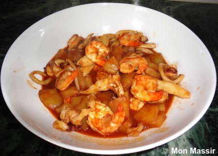 Seiches et crevettes à la sauce aigre douce 02