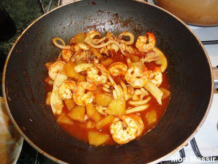 Seiches et crevettes à la sauce aigre douce 00